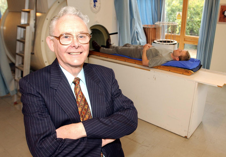 Dr. Peter Mansfield has died, a British physicist whose discoveries about the magnetic properties of atoms led to the invention of magnetic resonance imaging, which eliminated exploratory surgery by allowing physicians to see pictures of the body's internal organs. He built the first MRI machine in 1978 and was the first person exposed to the scanner, though some scientists worried that it could cause cardiac fibrillation. He later developed  applications so clinicians could watch the beating of a heart and even chart the patterns of brain waves. He was knighted by the Queen in 1993 and won the Nobel Prize in Physiology or Medicine ten years later. (David Jones/Press Association)