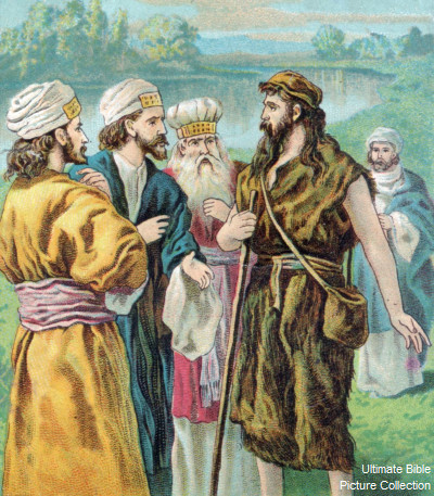 The Pharisees ask John the Baptist if he is the Christ. (Ultimate Bible Pictures)