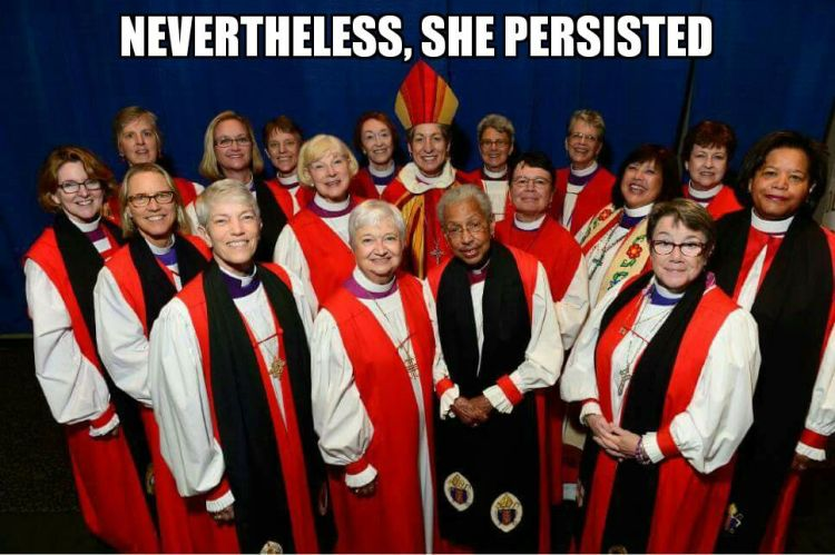 "One of the leading Trump critics in the U.S. is Senator Elizabeth Warren, who was accused of violating a rule against impugning the motives of other Senators, and was silenced by Majority Leader Mitch McConnell, who said he warned her not to continue, but ""nevertheless, she persisted."" Many American women howled in derision, and Episcopalians used an old photo to produce this reply."