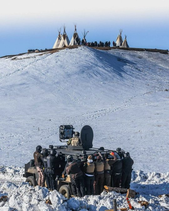 The confrontation at Standing Rock, summarized in a single photograph February 1. (Standing Rock Rising)