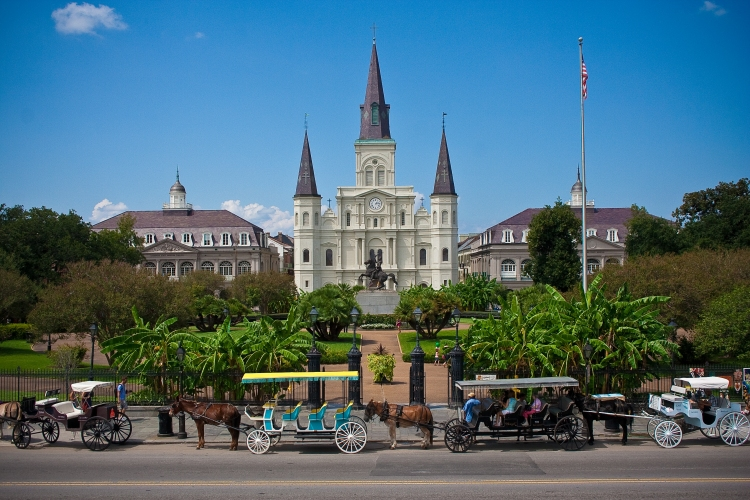 St. Louis Cathedral, New Orleans; founded in 1720 on the banks of the Mississippi River, it stands at the city's heart on Jackson Square, built in 1789, the year George Washington took office. It's the oldest cathedral in America.